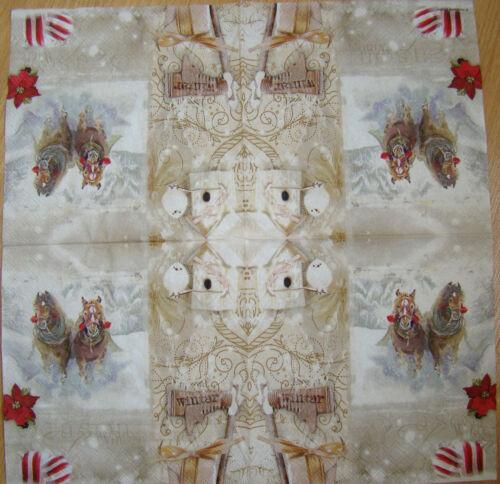 paper napkins,Christmas Santa Claus,horses,sleigh,serviette,33cm-2ps,decoupage