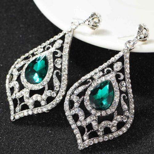 New Fashion femmes élégant cristal Strass Ear Stud Silver Dangle Boucles d/'oreilles 429