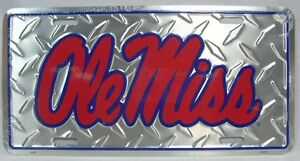 Ole Miss Rebels Car Truck Tag Diamond License Plate Rebel MISSISSIPPI Football