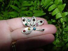 Vintage ANSON - Sterling silver - RHINESTONE LEAF PIN - brooch