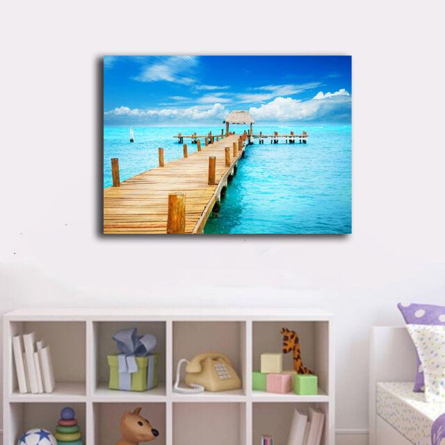 50×80×3cm Framed Canvas Prints Beach Side Wharf Wall Art Home Decor Painting XIV