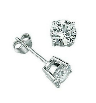 Sterling Silver Polished Princess Cut CZ Stud Post Earrings Length 8mm