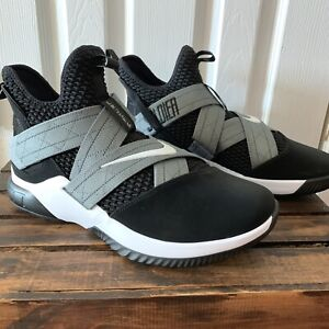 sports shoes 0e278 343c1 New Nike Lebron James Soldier XII SFG Black Grey White Shoes ...