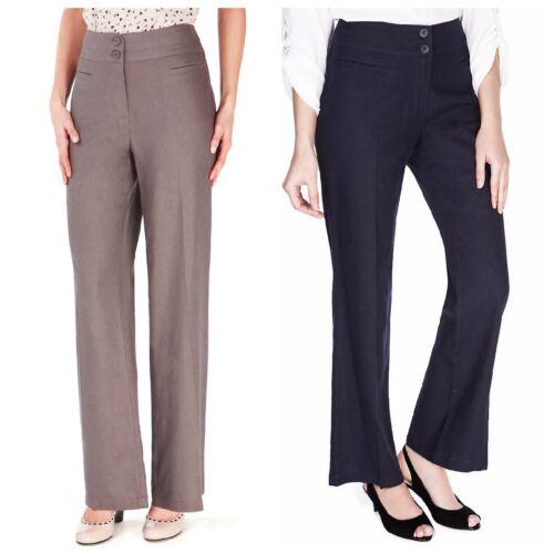17 Beige Linen Blend Straight Leg Trousers EX Ladies M/&S Navy