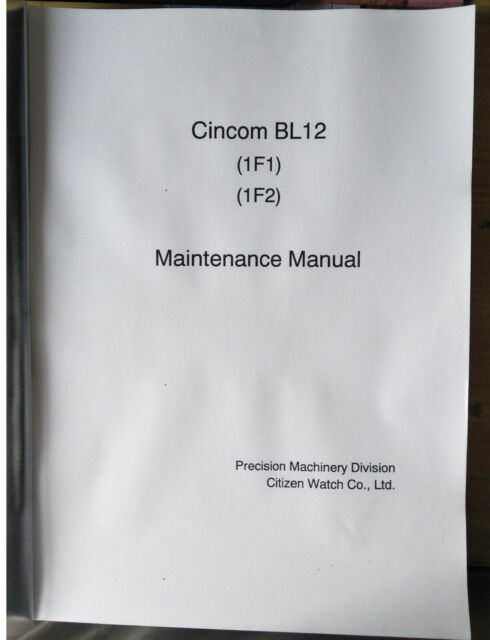 Citizen Cincom Bl12 Maintenance Wiring U0026ladder Diagram