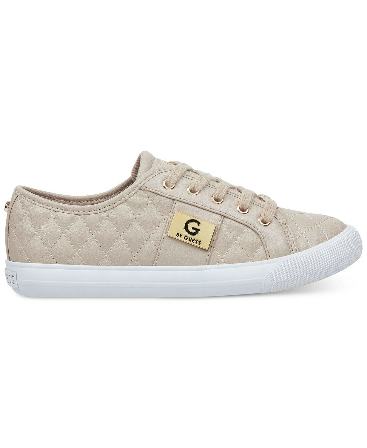 G by Guess Women's Lace Up Leather Quilted Pattern Sneakers shoes Light Natural