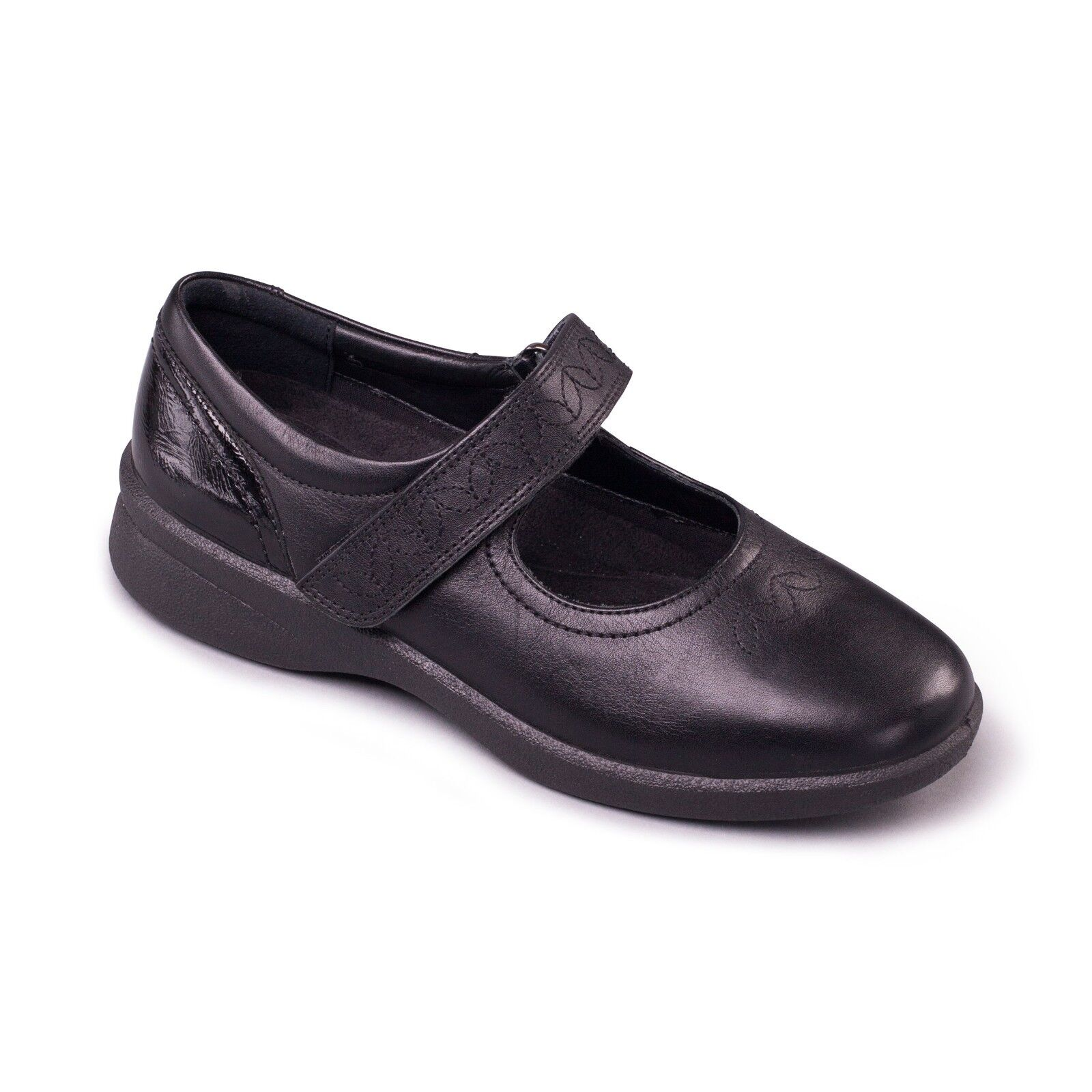 Padders Sprite 2 Ladies Casual Mary Jane Wide 3E 4E Dual Fitting shoes Black