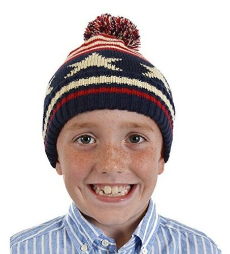 NEW Boys Kids STARS /& STRIPES Winter Warm Bobble Hat Beanie Pom Pom Age 4-7