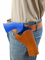 Barsony Saddle Tan Leather Cross Draw Gun Holster For Ruger 4 Revolvers