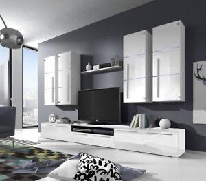 Details zu Wohnwand Anbauwand Wohnzimmer Schrankwand Hochglanz Barso LED  weiß schwarz 07