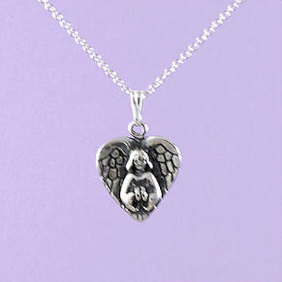 """925 Sterling Silver """"Angel with Heart Shaped Wings"""" 18""""/20"""" Pendant A115"""