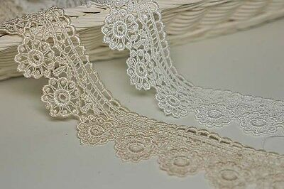 """14Yds Embroidery scalloped eyelet chemical lace trim 1.6"""" YH1109 laceking2013"""