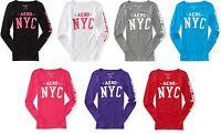Aeropostale Womens Aero NYC Times Square Long Sleeve Crew Tee Shirt Sz L XL XXL