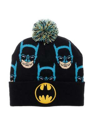 OFFICIAL DC COMICS - BATMAN EMBROIDERED SYMBOL & PRINTED FACE CUFF POM BEANIE