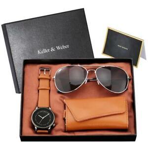Fashion Men Quartz Wrist Watch Black Sunglasses Key Package Best Gift Set to Man