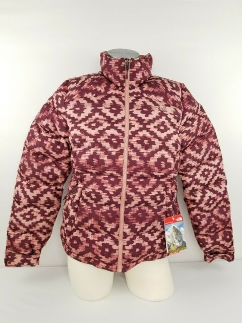NWT The North Face Women s Nuptse 2 Jacket Coat Burgundy Printed Down MSRP   220 93e139d9f