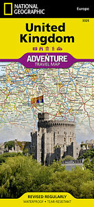 Geographic Map Of England.Details About Uk Adventure Travel Map National Geographic Waterproof England Wales Scotland