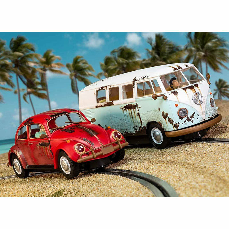SCALEXTRIC Slot Car C3966A VW Beetle and Camper Van - West Coast Rat Look Ltd Ed