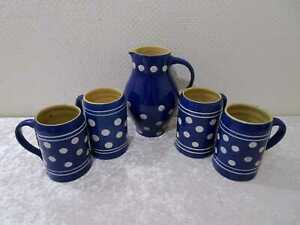 5 tlg.  Set DDR Design Bürgeler Keramik - Vintage - Blau / Weiße Punkte