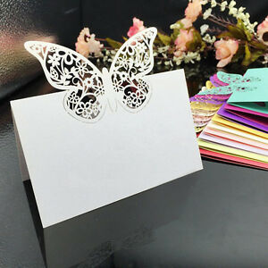 50X-Set-Platzkarten-Tischkarte-Schmetterling-Namenskarten-Hochzeit-Party-Deko