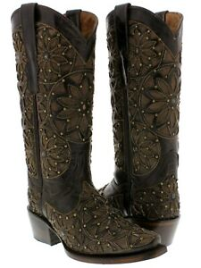 Womens Dark Brown Heart Wings Overlay Design Leather Cowboy Boots Snip Toe