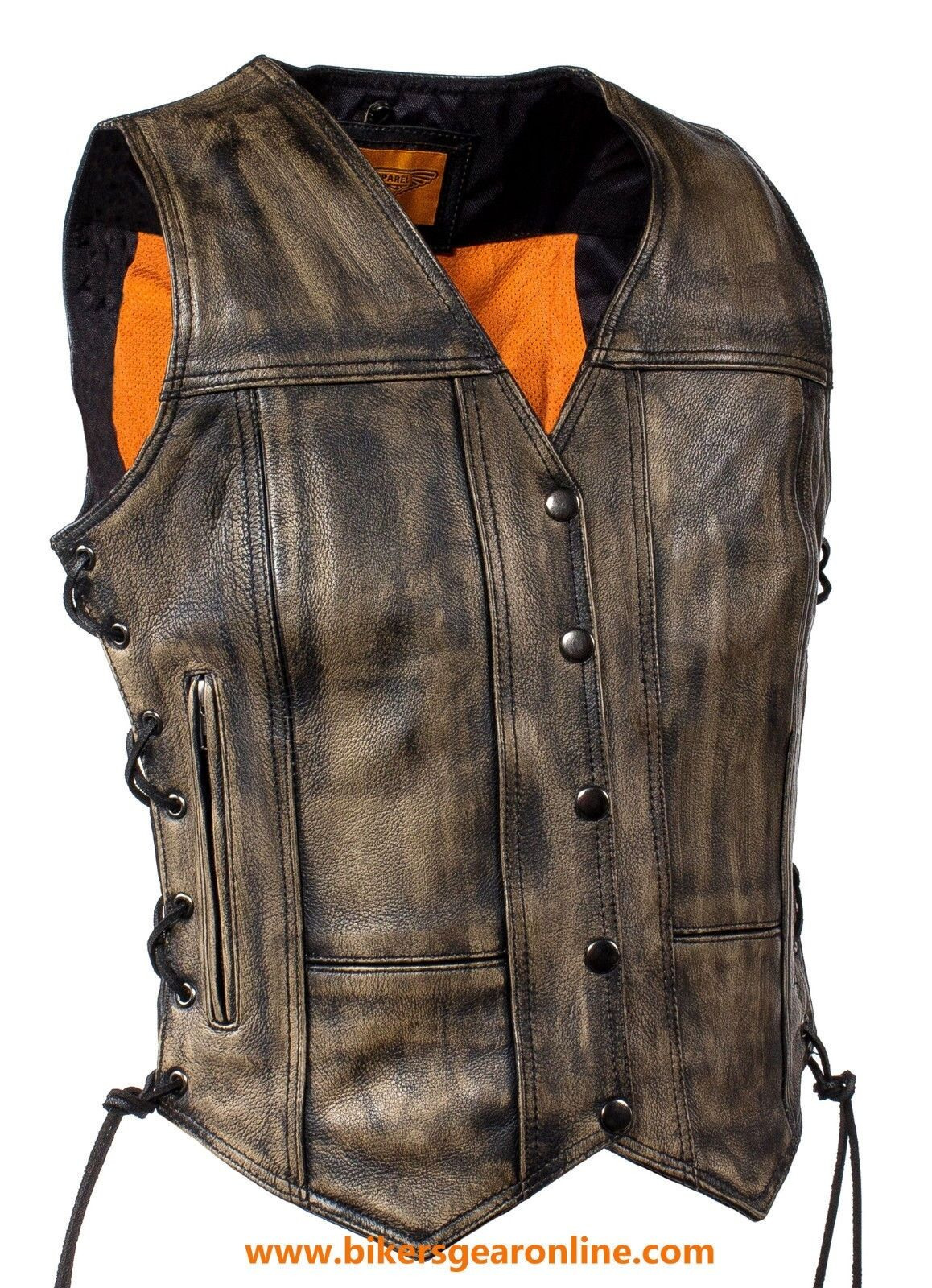 WOMEN'S MOTORCYCLE RIDERS DISTRESSED BROWN SOFT LEATHER VEST W  SIDE LACES NEW