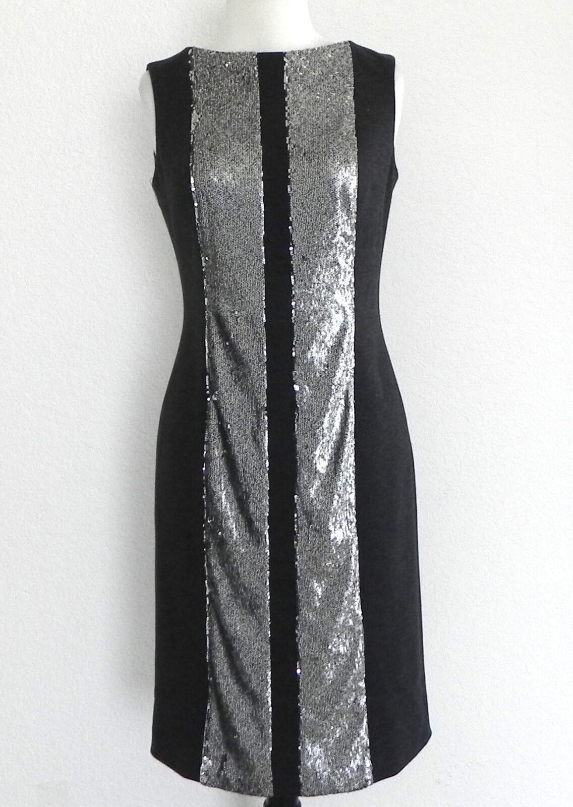 Teri Jon Dress Sheath Sleeveless Charcoal Sequin Trim Größe 4