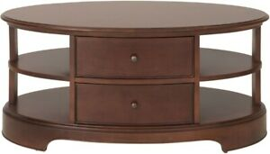 Willis Gambier Lille Cherry 2 Drawer Storage Oval Coffee Table Ebay