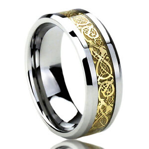 Men Women  Engraving Surgical Stainless Steel Wedding Band Celtic Knot Ring
