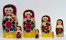 7 piece red topped  Famous Semeyenov  Russian nesting doll set