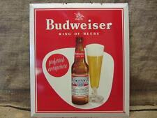 Vintage Budweiser Beer Metal Litho Sign   Antique Old Brewery Bud Light 9426