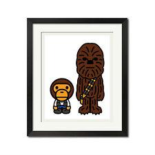 A Bathing Ape x Star Wars Chewbacca Baby Milo Han Solo Bape Poster Print
