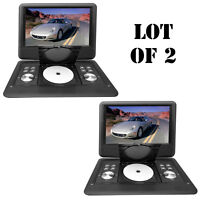 Lot Of 2 Pyle 14 Portable Swivel Tft Dvd Cd/usb/sd Player W/remote+car Adapter