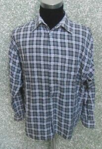 180-E86-SIGNUM-Hemd-Gr-L-grau-weiss-schwarz-kariert-langarm-Kentkragen-Herrenhemd