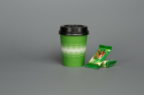 PAPER CUPS LIME GREEN 8oz Coffee Party Tableware WIMBLEDON Colour Birthday Party