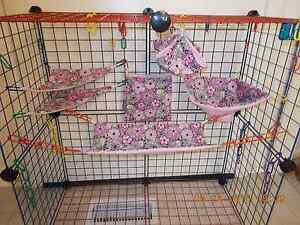GRAY With PINK FLOWERS Sugar Glider 6 Piece Cage Set