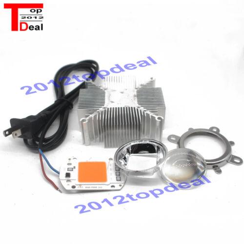 cable DIY 110V//220V 50W 380NM-840NM Full Spectrum LED Heatsink Cooler+lens