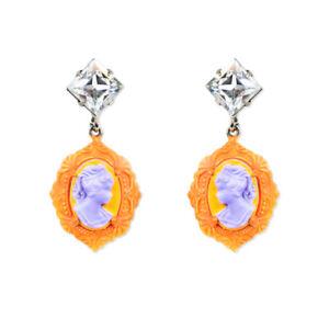 Tom-Binns-Neon-Orange-Cameo-Earrings