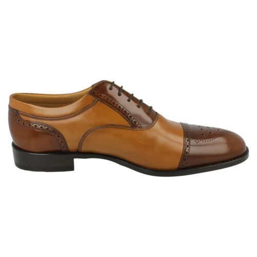 LOAKE WOODSTOCK MENS CALF POLISHED LEATHER WIDE LACE UP OXFORD SEMI BROGUE SHOES