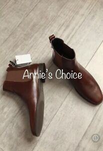 Flat Leather Ankle Boots(Brown