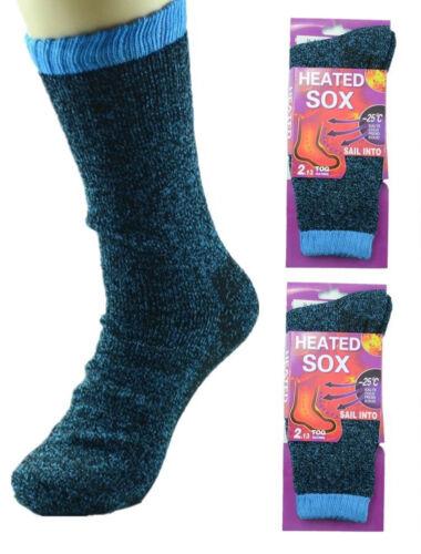 2 pair Women Heated SOX Thermal Winter Heavy Duty Crew Socks Heat Rate 2.13 TOG