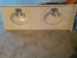 Cultured Marble Vanity Top Bathroom Double Sink White 61x22 Ebay