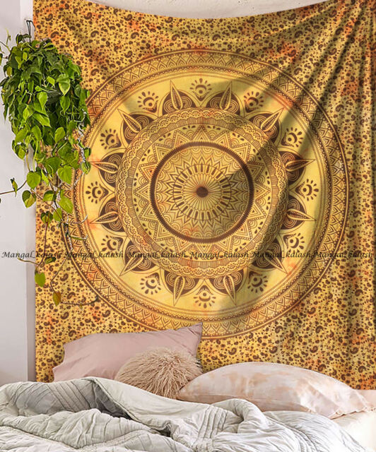 Indian Yellow Ombre Mandala Large Tapestry Cotton Wall Hanging Bedspread Blanket