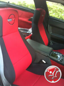 Coverking-Neosupreme-Custom-Fit-Red-Seat-Covers-for-Chevy-Corvette-C4-with-Logo