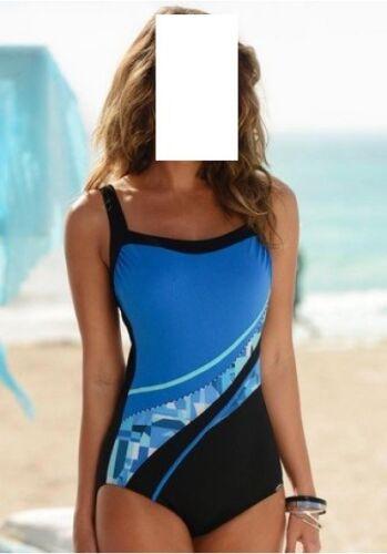 Badeanzug mit Unterbrustgummi vorn von SUNFLAIR 38E blau-schwarz 48E Gr