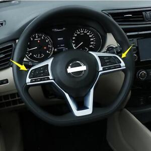 Silver-Chrome-Steering-Wheel-Trim-2pcs-For-NISSAN-ROGUE-SPORT-2017-2018