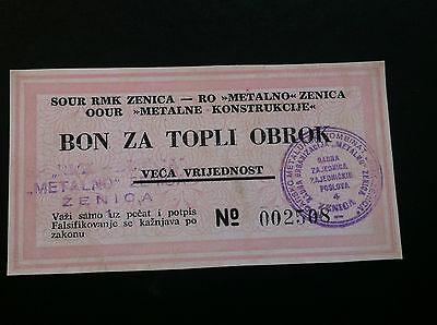 ZENICA BOSNIA 1 Bon For  Warm Meal ND1993 METALNO