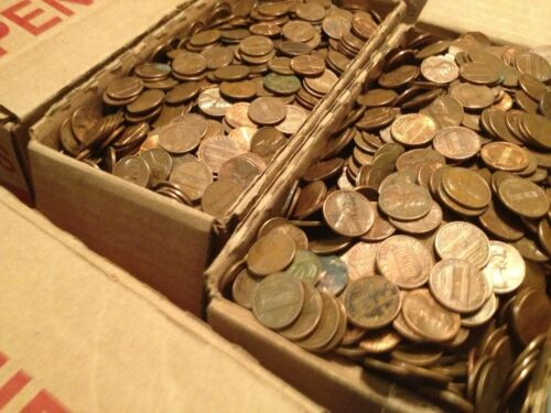 2,000 Coins Machine Sorted 1959-1982 13 LBS $20 Face Value US Copper Pennies