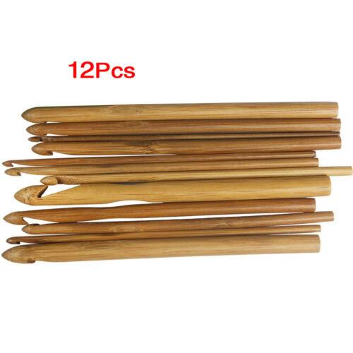 12 tailles crochet crochets des aiguilles a tricoter en bambou de 3,0 10mm P7Z5