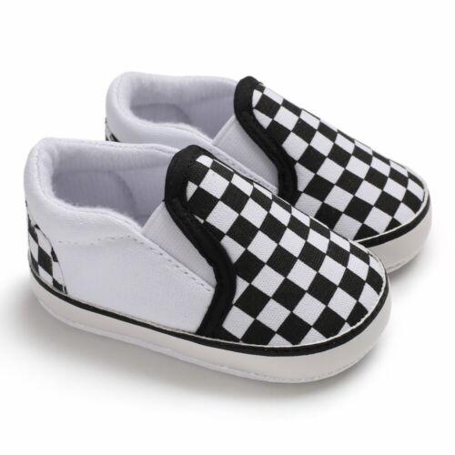 Newborn Baby Boy Pram Shoes Infant Casual Shoes Slip-on PreWalker Trainers 0-18M